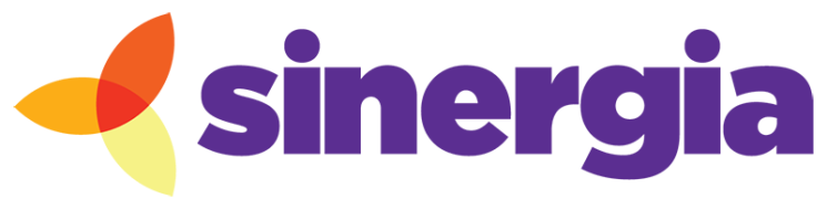 The logo for Sinergia; a three petal flower in shades of orange and yellow sits beside the purple word, sinergia.